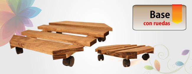 bases de madera con ruedas